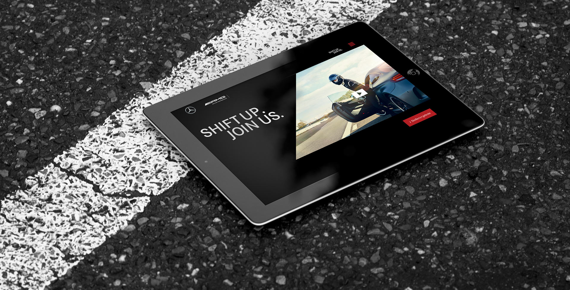 Mercedes-AMG Karriere-Website auf einem Tablet
