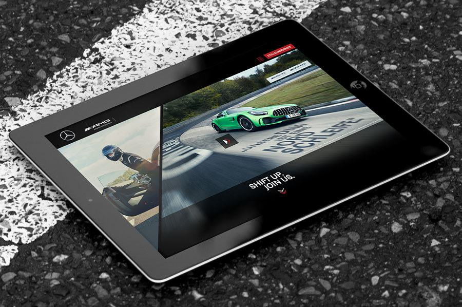 Mercedes-AMG Karriere-Website auf einem Tablet