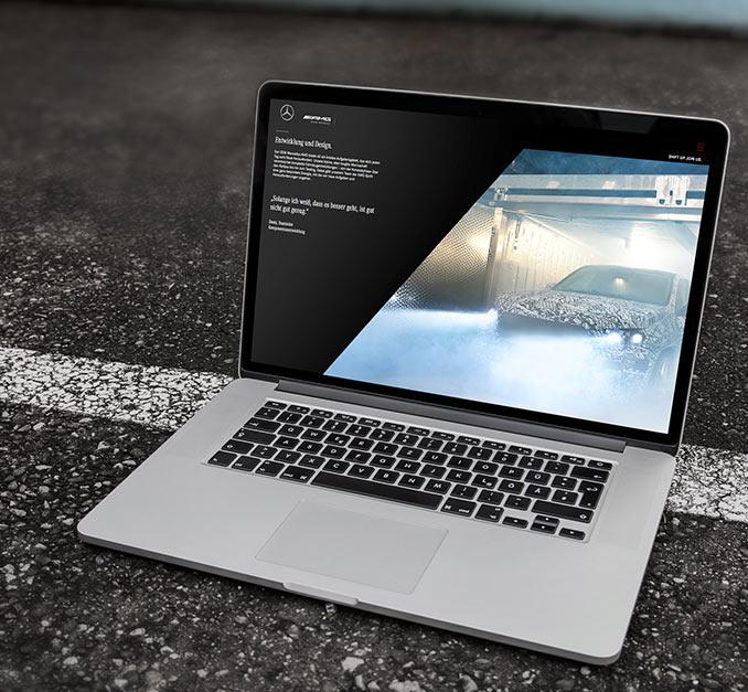 Mercedes-AMG Karriere-Website auf einem Laptop