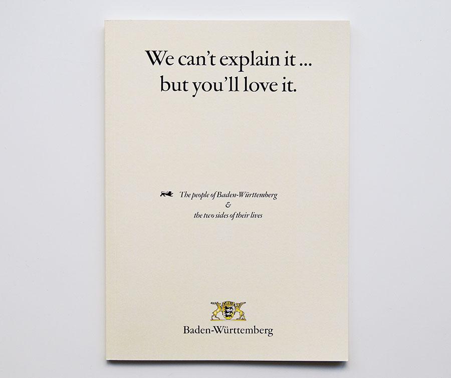 Das Titelblatt der Broschüre mit der Headline 'We can't explain it ... but you'll love it'.