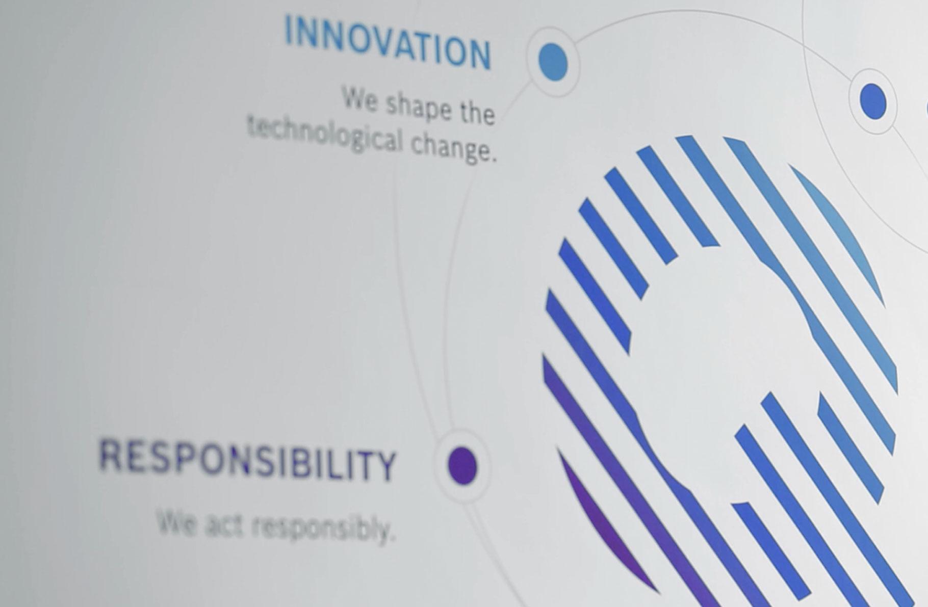 Ausschnitt Bosch Quality Principles Logo mit Schlagwörtern