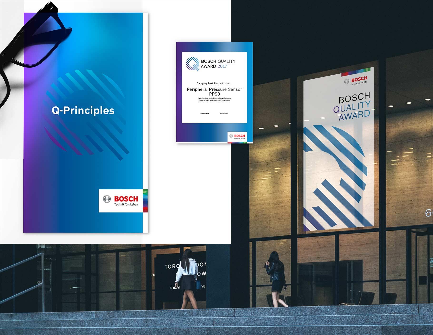 Collage aus Bosch Quality Principles Broschüre, Bosch Quality Award Urkunde und Bild zweier Frauen, die vor einem Bosch Quality Award Banner laufen.
