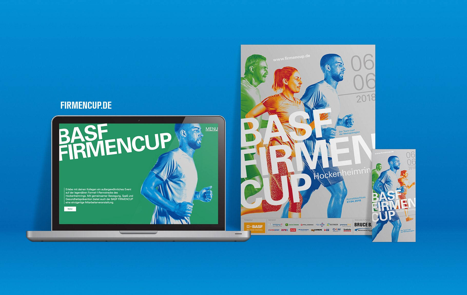 Flyer und Plakat für das Event, sowie die Website auf einem Laptop