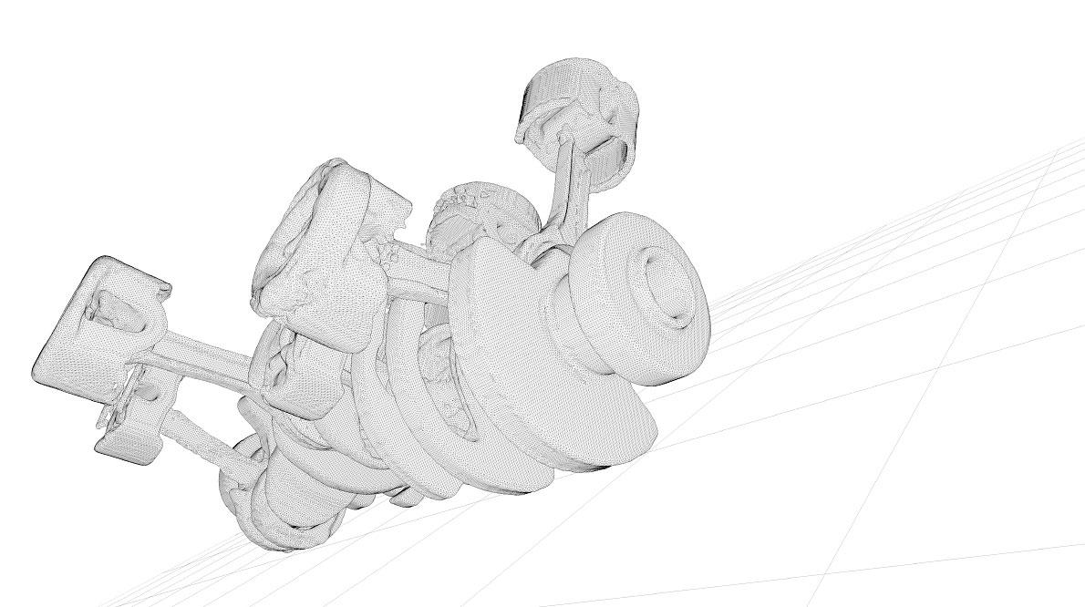 Unterschiedliche Phasen der Fluid-Simulation von Motorkolben.