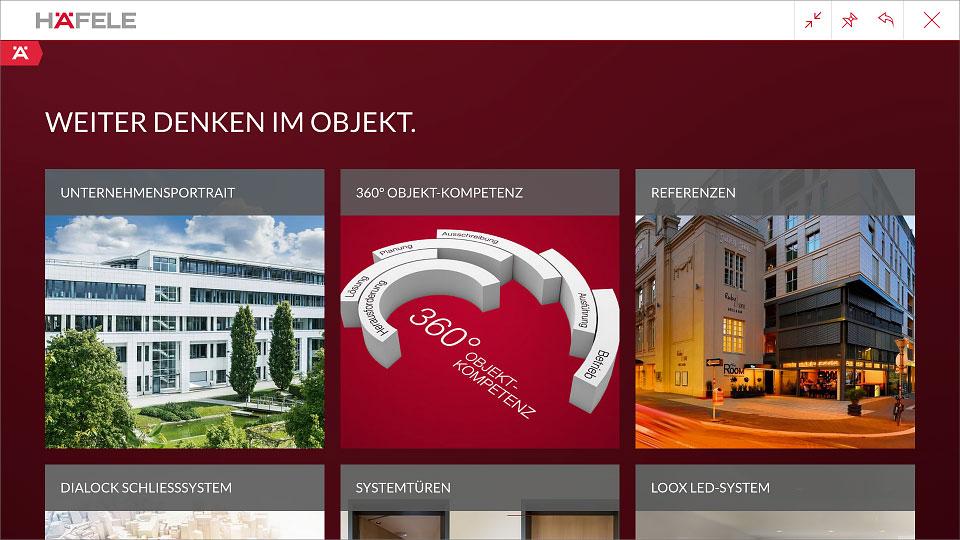 """Screen aus der App mit dem Darstellung der Inhalte als Menü """"Unternehmensportrait"""", """"360° Objekt-Kompetenz"""" und """"Referenzen""""."""