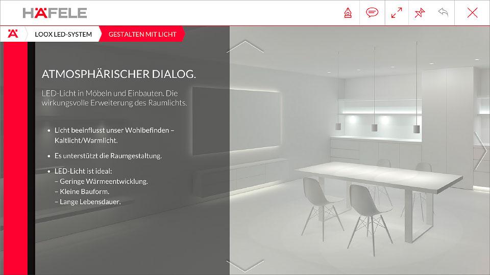 "Screen aus App nach Auswahl ""Loox-LED-System"""