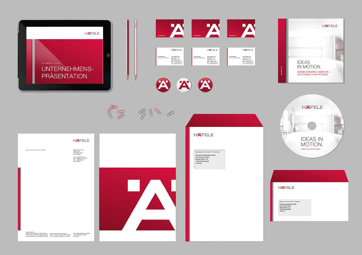 Unterschiedliche Maßnahmen wie Anschreiben, Kuvert, Visitenkarten etc. im Häfele CD.