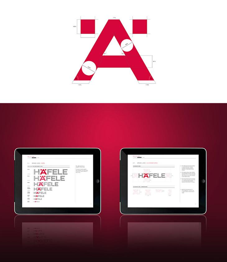 Das Häfele Ä als Markenzeichen mit Logo-Vermaßung.