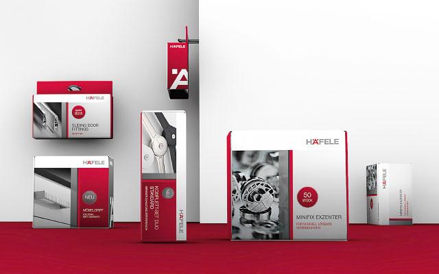 Häfele Packaging in unterschiedlichen Formaten.