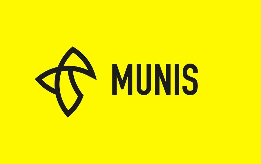 Schwarzes Munis Logo, auf gelbem Grund