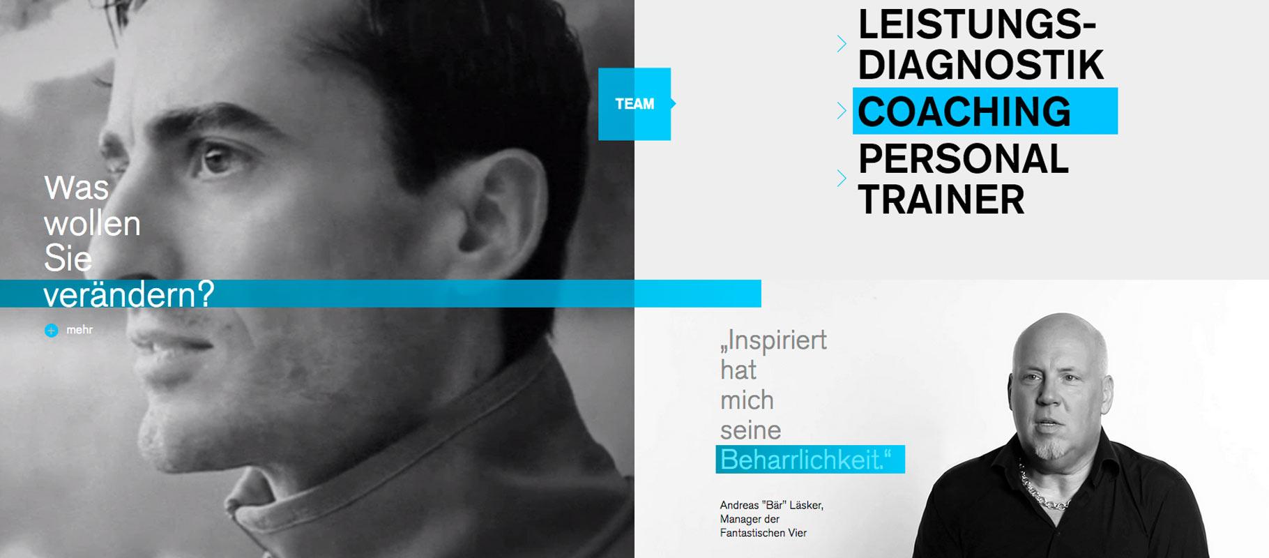 Startseite der Webseite Dr. Holzinger mit Portrait Daniel Holzinger und Startscreen Video-Statement Kunde.