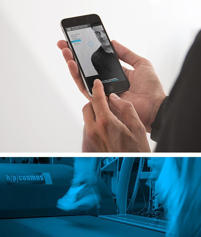 oben: Ansicht der Webseite auf einem Smartphone. unten: Trainingssituation auf dem Laufband in blauer Filteroptik.