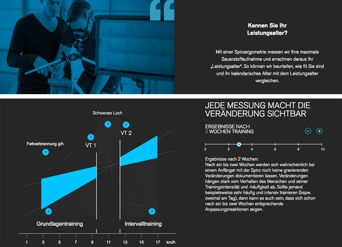 oben: Holzinger mit einem Kunden in einer Trainingssituation auf dem Ergometer bei der Leistungsdiagnose in blauer Filteroptik. unten: Ansicht einer interaktiven Grafik zur Spiroergometrie, ein Verfahren zur medizinischen Leistungsdiagnostik.
