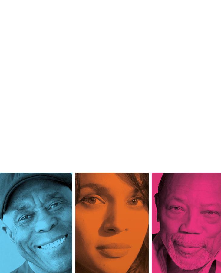 links: Grafische Inszenierung der Künstler beim Jazzopen in blauer Filteroptik. mitte: Grafische Inszenierung der Künstler beim Jazzopen in orangener Filteroptik. rechts: Grafische Inszenierung der Künstler beim Jazzopen in roter Filteroptik.