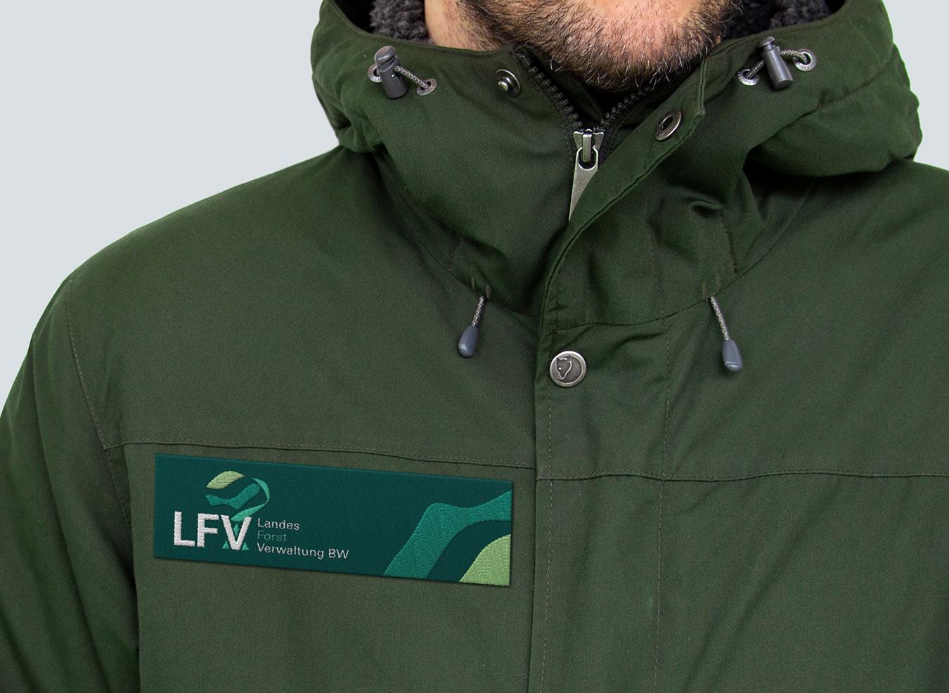 Badge auf einer Jacke.