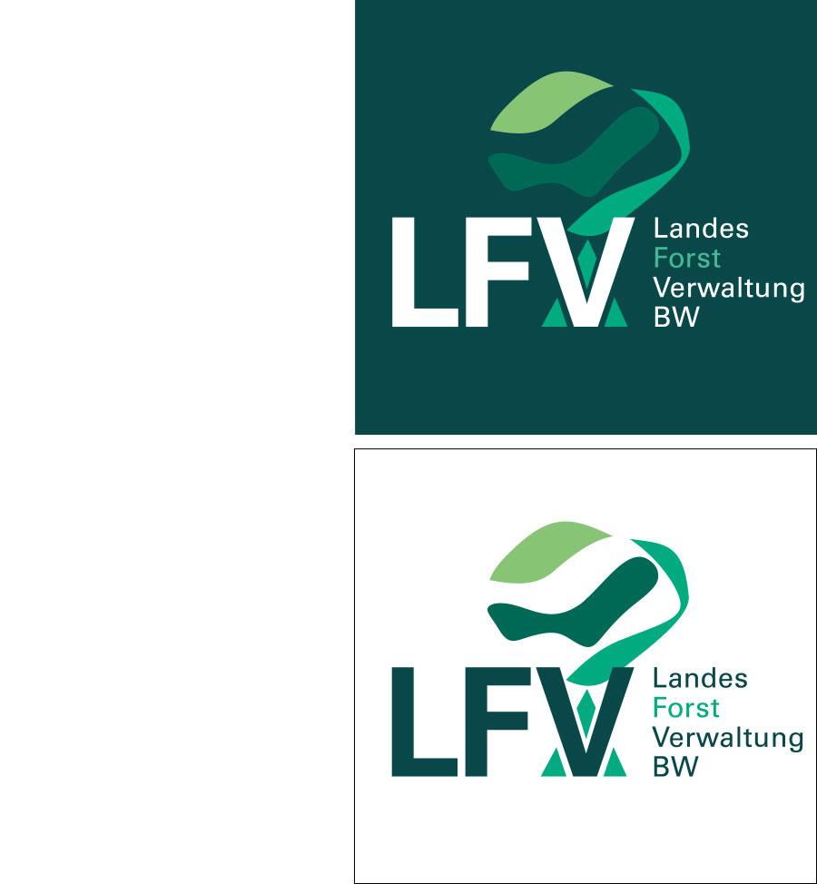 Das Logo der Landesforst Verwaltung BW auf dunkelgrünem und weißem Hintergrund