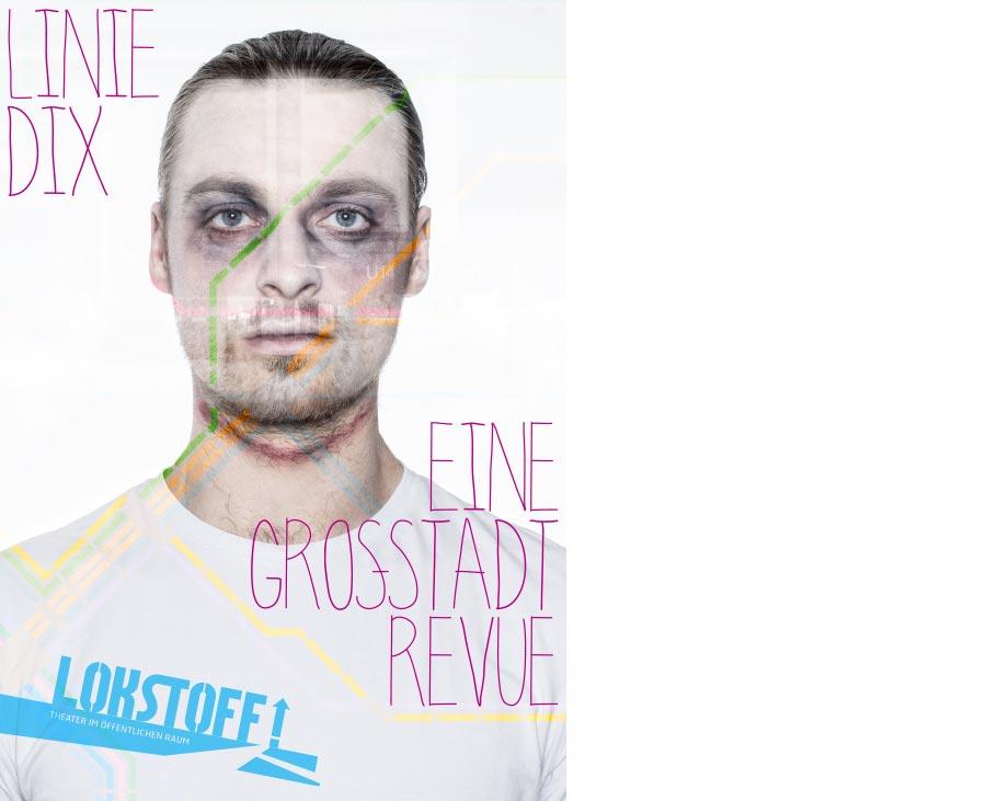 Key Visual zu 'Linie Dix': Ein wie eine Leiche geschminkter Mann im Portrait. Als transparente Doppelbelichtung ist ein U-Bahn-Netz großflächig darübergelegt.