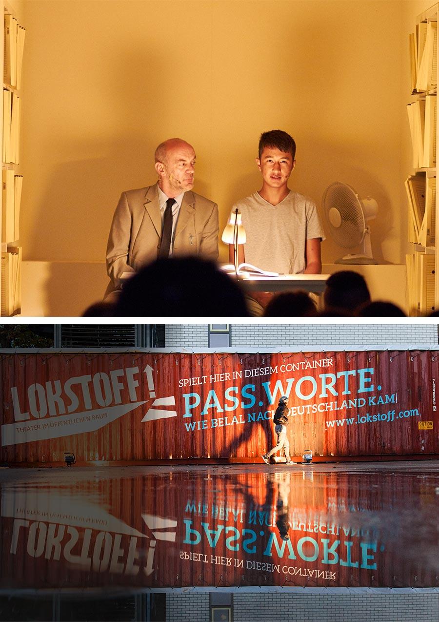 Bild 1:Szene aus dem Stück 'Pass.Worte.': Ein älterer Herr und ein junger Geflüchteter sitzen nebeneinander in einem Schiffscontainer, der wie ein Zimmer eingerichtet ist. - Bild 2: Blick auf den gebrandeten Container, in dem das Stück 'Pass.Worte.' gespielt wird.