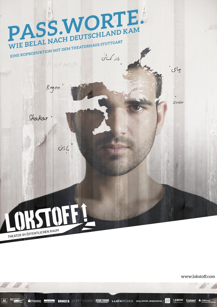 Key Visual zu 'Pass.Worte.': Portrait eines jungen Mannes, das durch eine Doppelbelichtung einer Landkarte wie zerrissen wirkt.