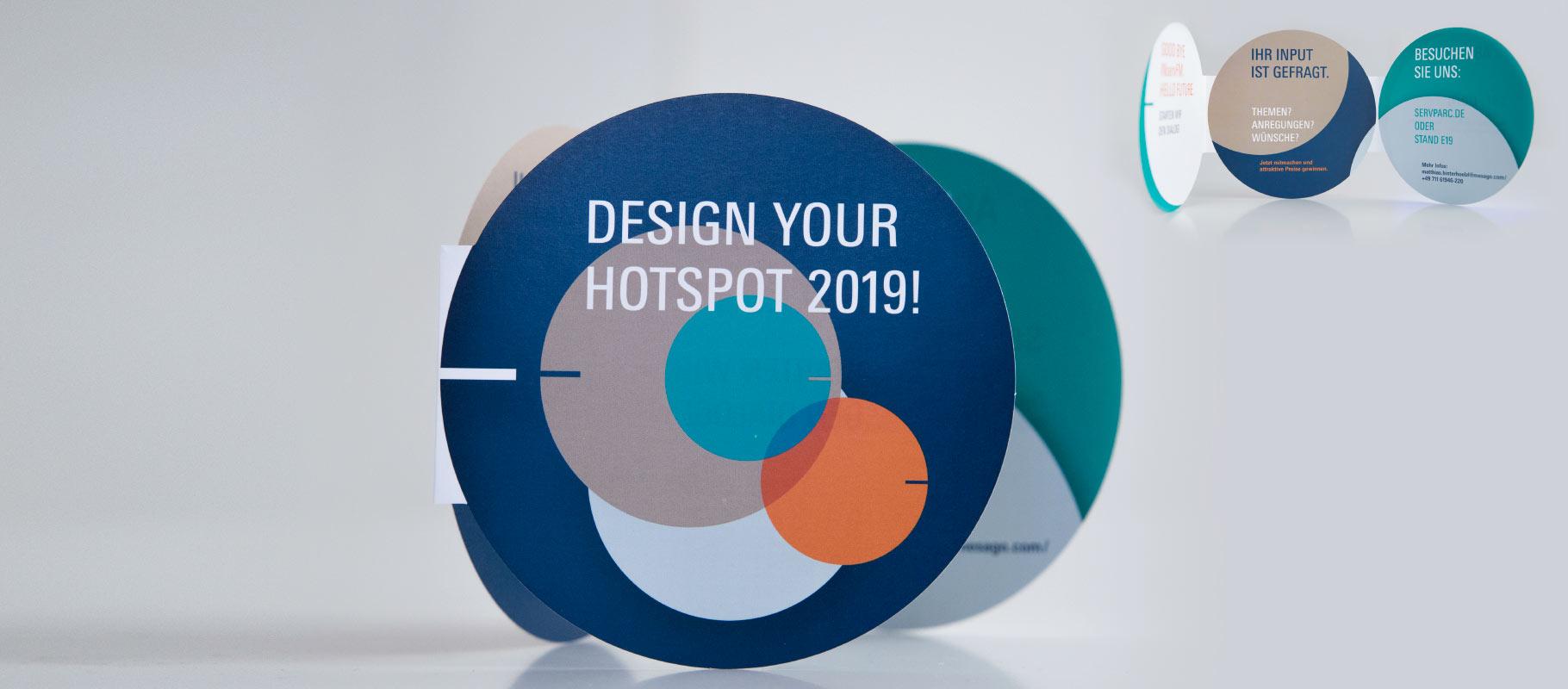 """Der runde servparc-Flyer zu """"Design your Hotspot 2019"""""""