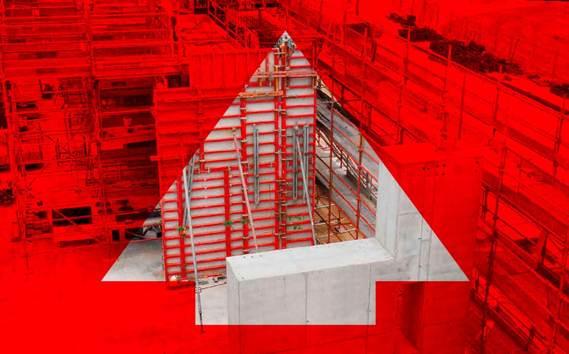 Baustelle mit roter Fläche