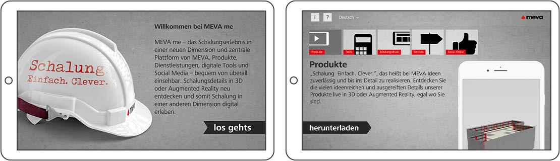 Screenshots der Meva App