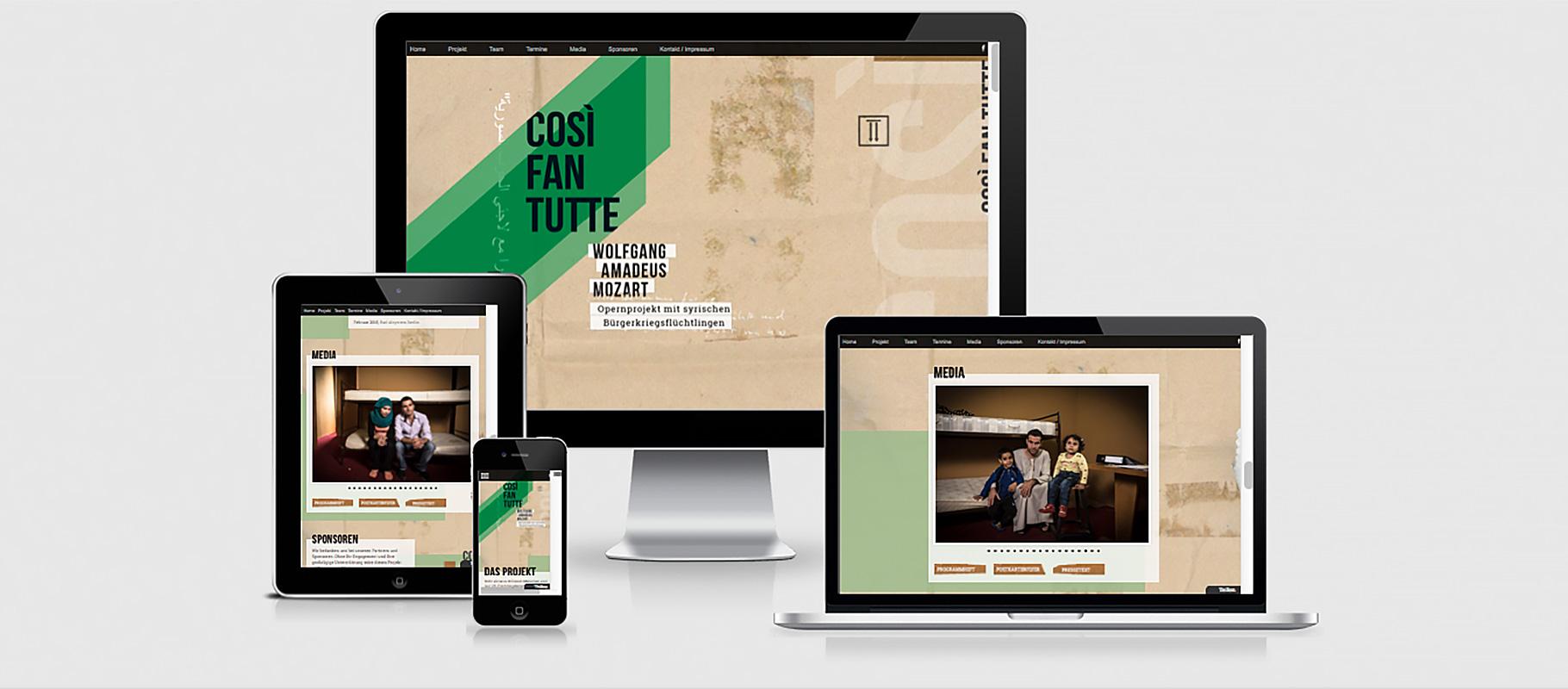 Opernprojekt COSI FAN TUTTE - Website auf PC, Tablet und Smartphone